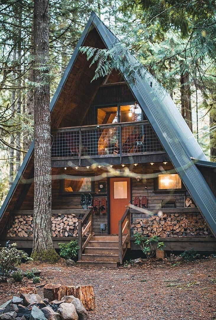 Exterior The Cabin Has A Small Porch To Just Sit And Maybe Read A Book Or To Journal Aframeinterior In 2020 Small Log Cabin Small Porches Tiny House Cabin