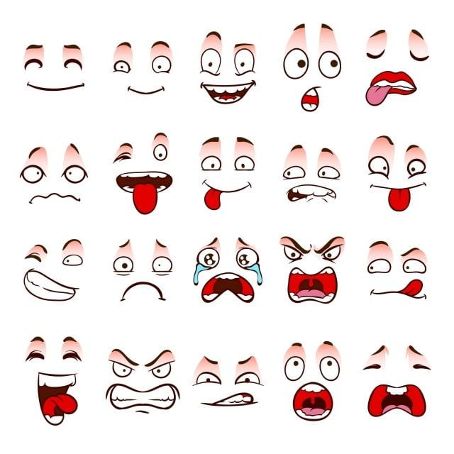 Expressive Funny Face Character Element Embarrassed Mad Shock Png And Vector With Transparent Background For Free Download Cartoon Faces Expressions Cartoon Expression Anime Faces Expressions