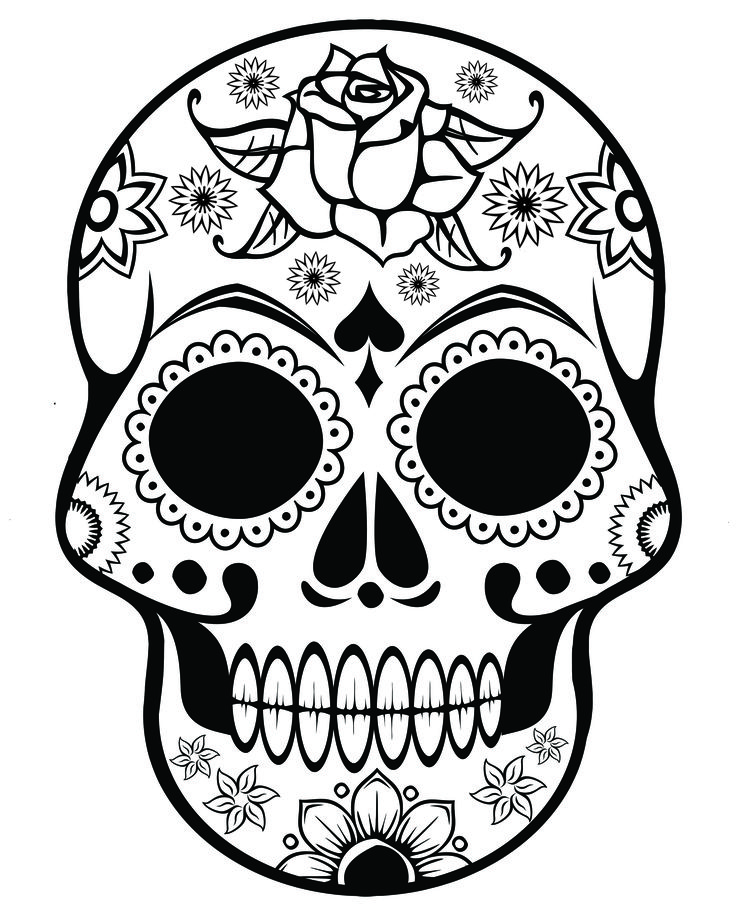 free printable halloween coloring pages for adults sugar skull with ornate flowers