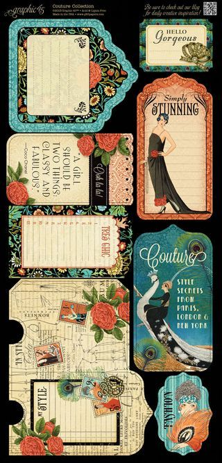 Cardstock Tags and Pockets 2 from our new collection Couture! In stores in mid-November #graphic45