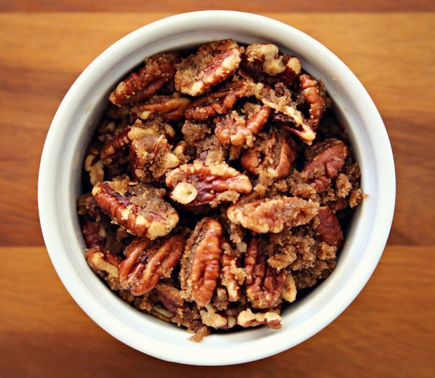 4 cups pecans, 1/4 cup butter, 4 tbsp brown sugar. Roast 2 minutes initially, then add other ingredients and cook another 5 minutes