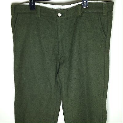 """Vtg Codet Wool Blend Hunting Pants 42x28"""" Olive Green Warm Outdoor Winter Skiing"""