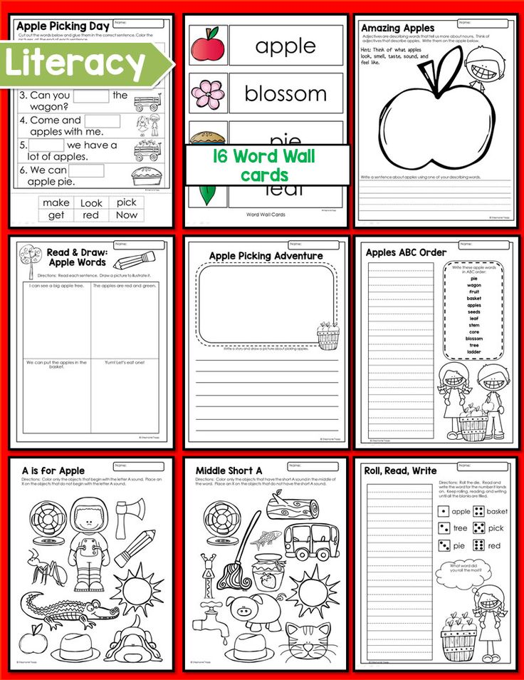 A week long apple unit for kindergarten and first grade. Detailed daily lesson plans focus on science, math, literacy, art, games, music, and more.
