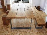 Gartenbänke - Eiche Massivholz Sitzbank Bank mit Stahlgestell - ein Designerstück von C-Oldenburg-Moebel bei DaWanda