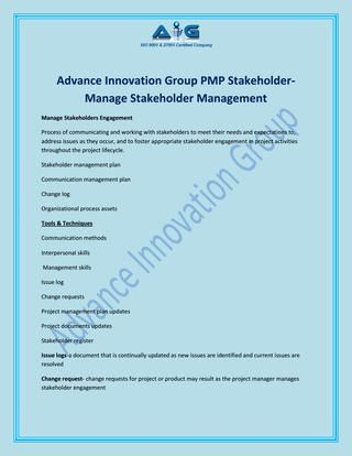 Advance Innovation Group - Manage Stakeholder Management