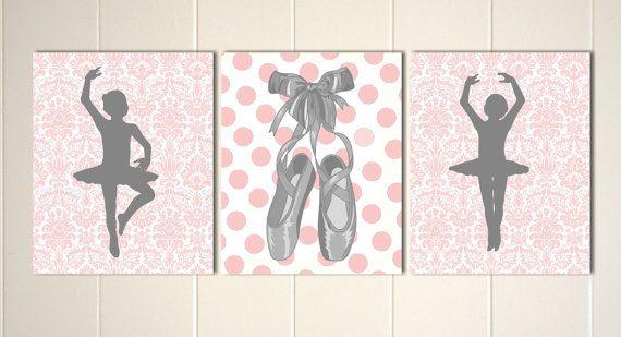 Baby girl nursery, damask nursery art, ballerina nursery, pink turquoise nursery, damask, ballet slippers, set of 3 prints, custom colors