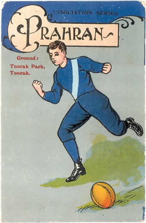 Postcard featuring a drawing of a player, presumably in Prahran colours, kicking a football, ca. 1900.