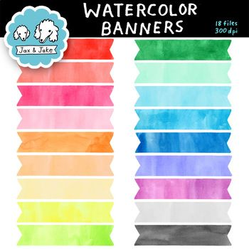 "This set includes: • 18 colorful hand-painted watercolor banners. • High quality 300 dpi files in .png format with transparent backgrounds. • Sized large at approximately 2"" x 8"". Can be resized. • Commercial use okay! Need your banners to stand out more?"