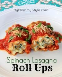 Spinach Lasagna Roll Ups on MyRecipeMagic.com are a great family dinner for everyone.  #lasagna #spinach #dinner