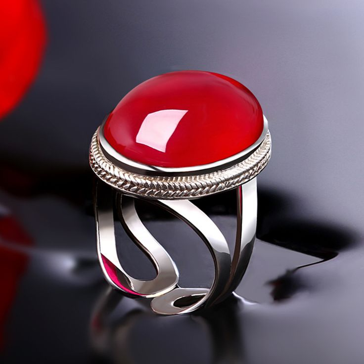 ==> [Free Shipping] Buy Best silver jewelry wholesale S925 sterling silver ring opening red corundum large banquet major suit fashion women's ring Online with LOWEST Price | 32302741104