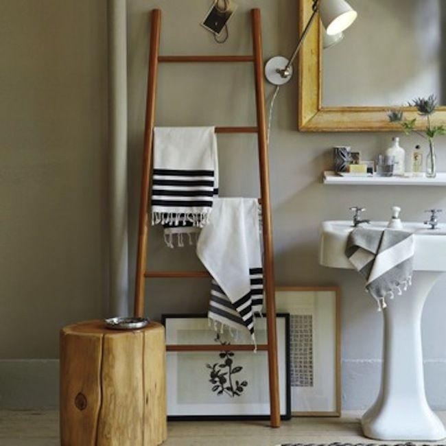 狭小バスルームこそはしごをフル活用