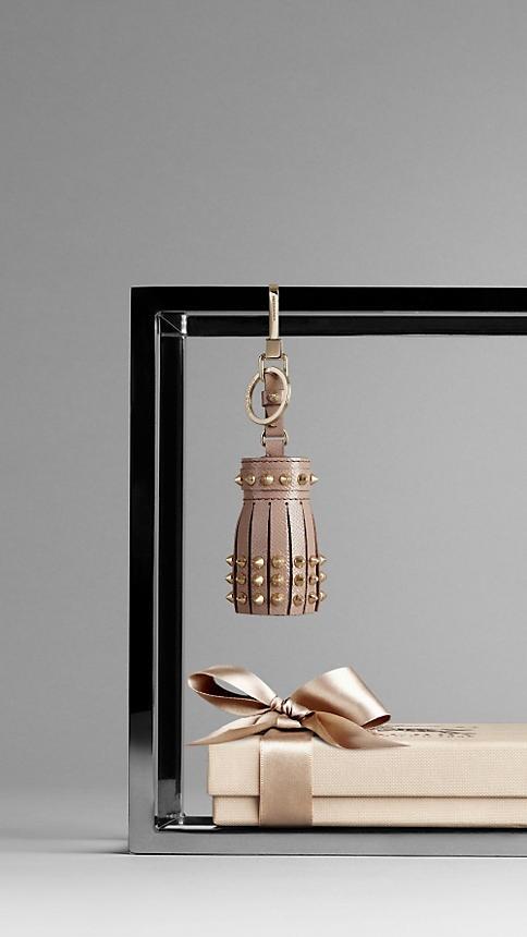 Burberry Studded Leather Tassel Charm