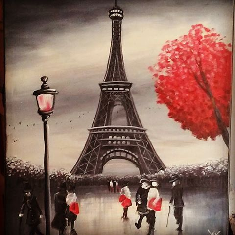 Eiffel Tower #eiffeltower#paris#france#french#structure#architecture#painting#black#white#red#acrylic#artwork#composing#commissions#connecting#artist#riverside#ca#California#Cali