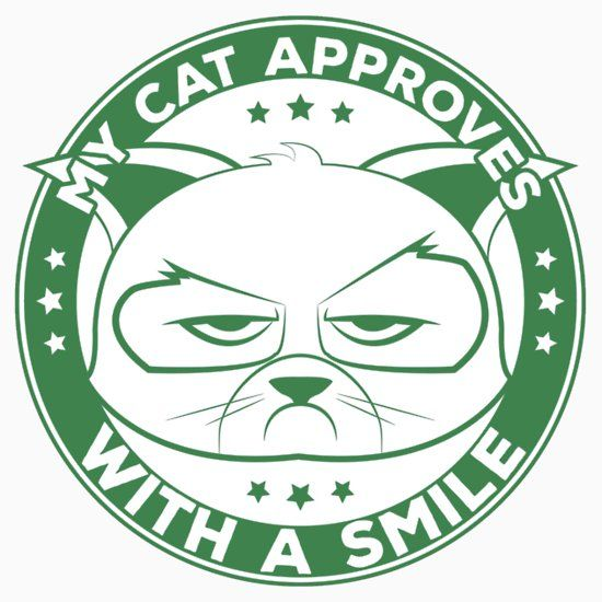 Cartoon Grumpy Cat Approves With A Smile