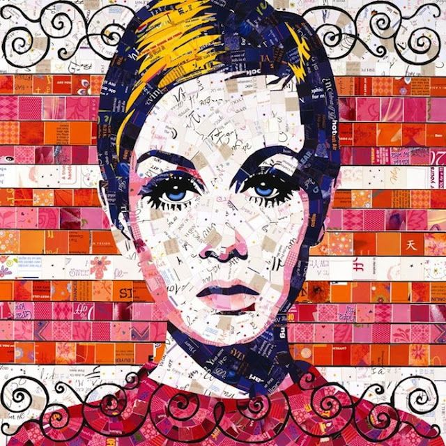 Recycled Art - Twiggy made with newspaper and magazine pieces. So cool.