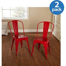 Walmart: Milan Metal Chair, Set of 2, Multiple Colors - colorful medal chairs $119 for two