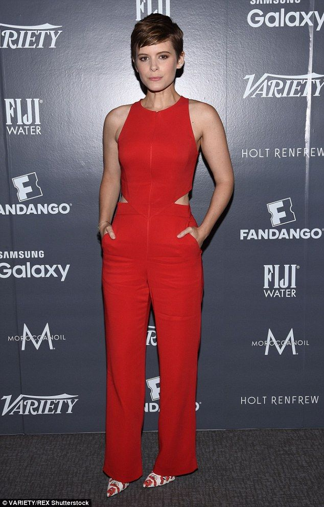 Bold look: Kate Mara stunned in a bright orange jumpsuit and cute heels - September 11, 2015