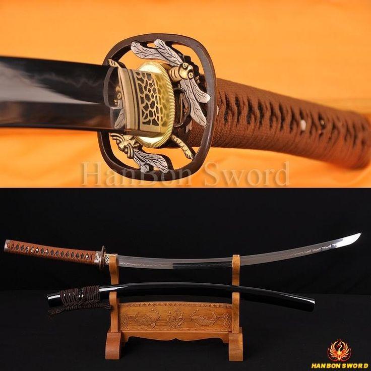 "Hand Forged Top Quality Japanese Samurai Sword KATANA Clay Tempered 1095 Steel 1.26""SORI FULL TANG BLADE DRAGONFLY KOSHIRAE"