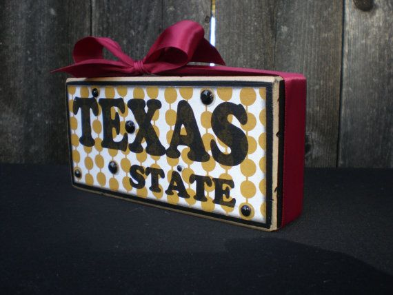 Wooden Block TEXAS STATE UNIVERSITY Bobcat by Memoriesoffaith
