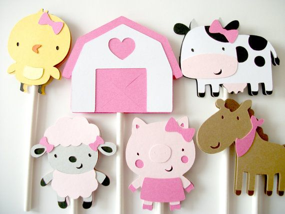 12 Girl Farm Animal Barnyard Cupcake Toppers, Cupcake Toppers, Farm Animals Cupcake Toppers, Pig, Sheep, Chick, Cow, Horse, Barn