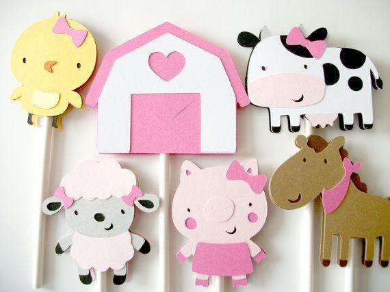 12 Girl Farm Animal Barnyard Cupcake Toppers Cupcake by 2muchpaper, $11.00