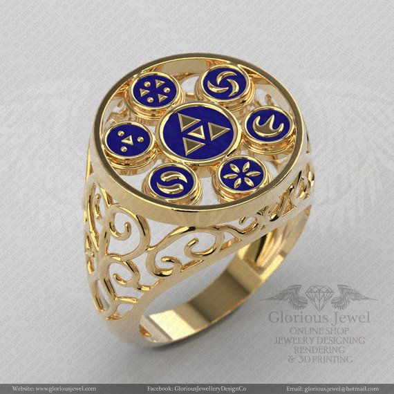 Glorious legend of Zelda hyrule triforce inspired ring with