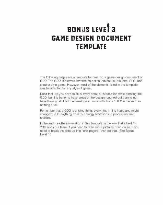 Sample Bonus Plan Document Luxury Game Design Doc Template With