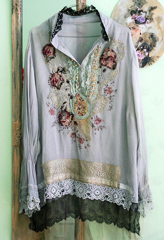 Sommerregen, verzieren Shirt mit antiken Schnürsenkel, böhmische, tragbare Kunst XL
