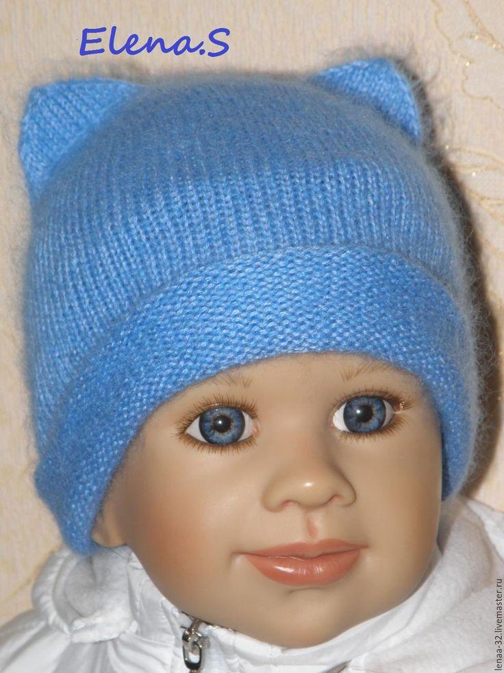 Купить Шапочка Бини для девочки - голубой, однотонный, шапка, шапка для девочки…