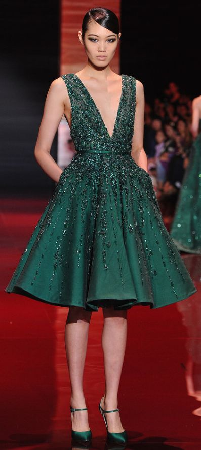 Sassy but still formal short emerald gown at Elie Saab Haute Couture Fall 2013