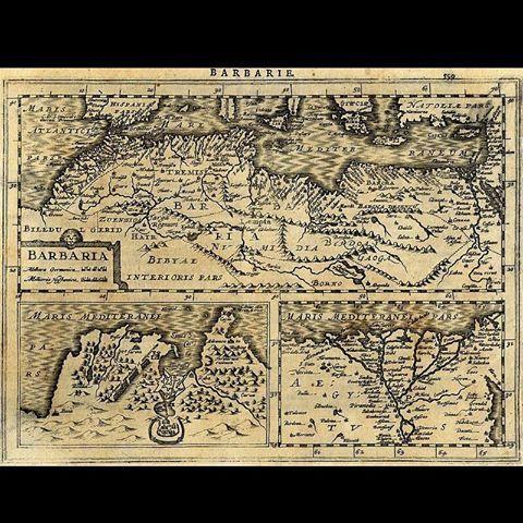 Carte de Barbarie (Barbaria)1630 Gerardus Mercator ----------------------------- Du 16e Siècle jusqu'au 19e Siècle , la Barbarie est le nom utilisé dans les langues européennes pour désigner le MAGHREB (l'Algérie , le Maroc , la Tunisie et la Libye ) . #algerie #algeria #art #artwork #artofinstagram #الجزائر #الجزائر_المحمية_بالله#peinturedalgerie