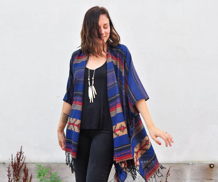 Fringe Poncho: Navy Navajo Stripe Southwest Aztec Tribal Blanket Kimono Poncho…