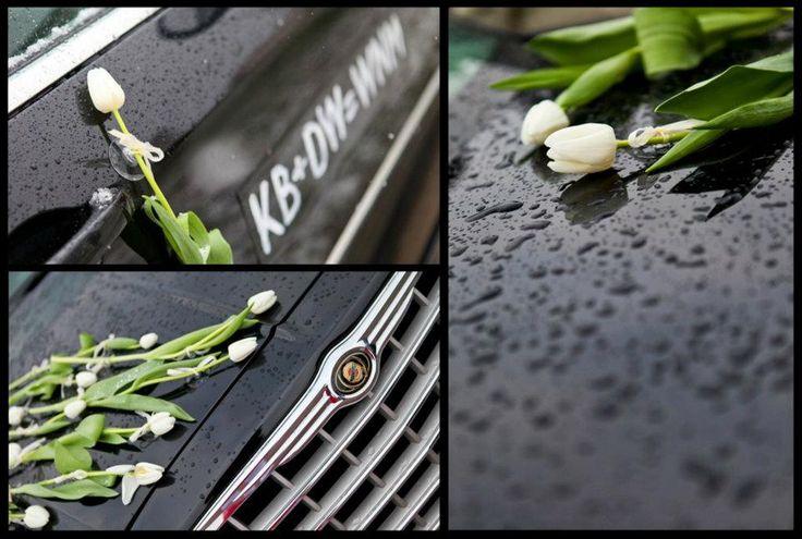Dekoracja auta z białym tulipanem