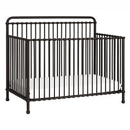 """Dimensions  Assembled size: 54.96"""" x 30.55"""" x 45.98"""" Weight: 105.6 lbs  Made from Iron Simple curves with classic metal casting at joints Hand finished in a non-toxic multi-step staining and painting process Converts to a toddler bed, daybed and full-size bed (Toddler bed conversion kit sold separately) Hidden hardware design Four adjustable mattress positions 1 year warranty"""