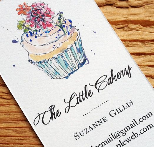 Business Card with Cupcake Illustration,Bakery Business Card, Set of 50 on Etsy, 20,12€