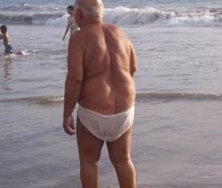 Old man in bikini