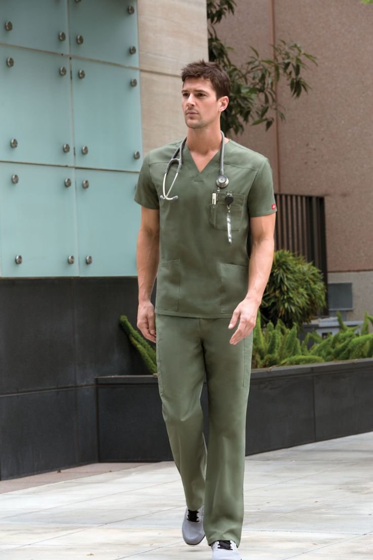 EDS Signature Men's Fit style features a front chest pocket with a bar tacked pencil slot and side vents. Shown in Olive #nurses #medical #uniforms #dickies