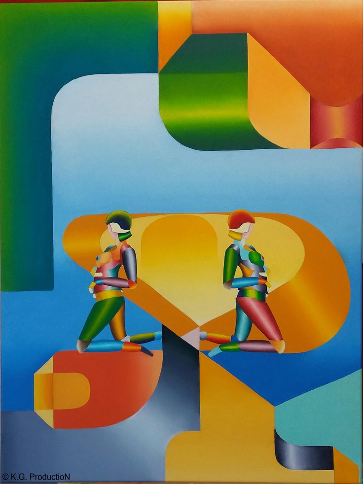 Cyborg Twins. Oil Painting 60x80