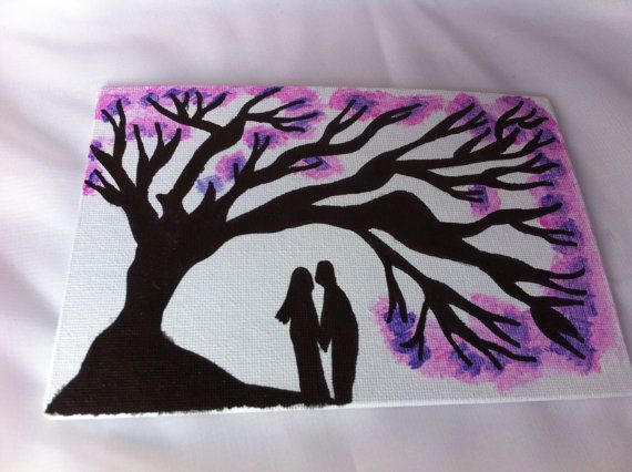 Hand painted couple silhouette with tree and pink and purple blossom detail canvas