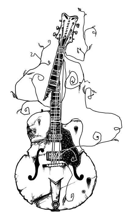 line drawing of a smashed up guitar I love coloring pages