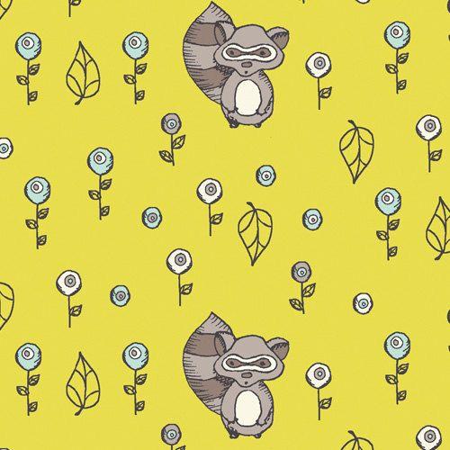 Birch SCAMPER  Raccoon Acacia Organic Cotton von CedarHouseFabrics, $15.00