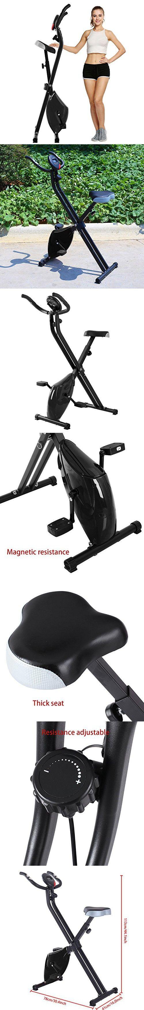 Fanala Folding Magnetic Upright Exercise Bike with Pulse Fitness Equipment US Fast (Black)