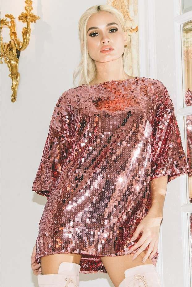 72f26f9bf90c3 PIA MIA PINK SEQUIN OVERSIZED T SHIRT DRESS