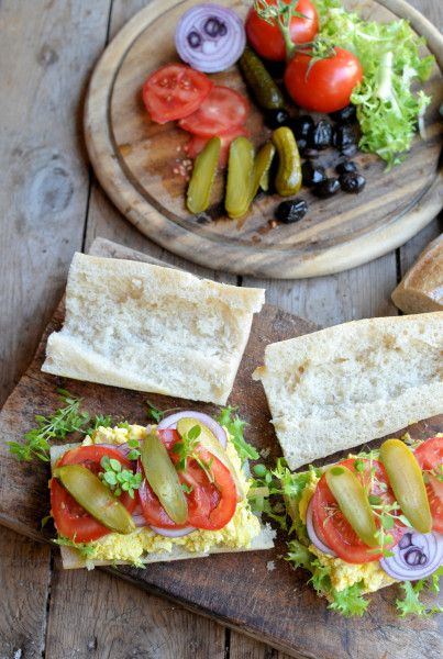 Vegetarian Stuffed Picnic Sandwich Recipe | egg salad | cornichon | tomato | olives (14Jl)