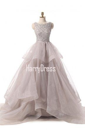 Nude Ball Gown Scoop Neck Organza Sweep Train Beading Backless Quinceanera Dress