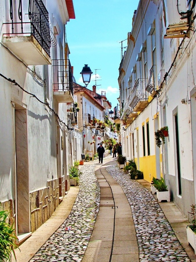 The moorish streets of Moura, brightning In the SUN. Alentejo, Portugal. At 86 km from Quinta do Evaristo-