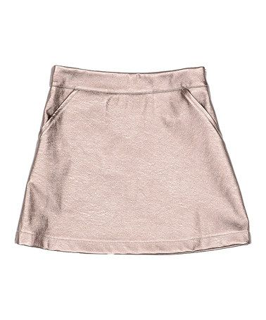 copper faux leather a line skirt toddler
