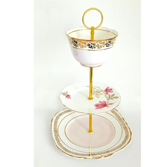 Tiered Cake Stand Pastel Pink Vintage China 3 tier Cake