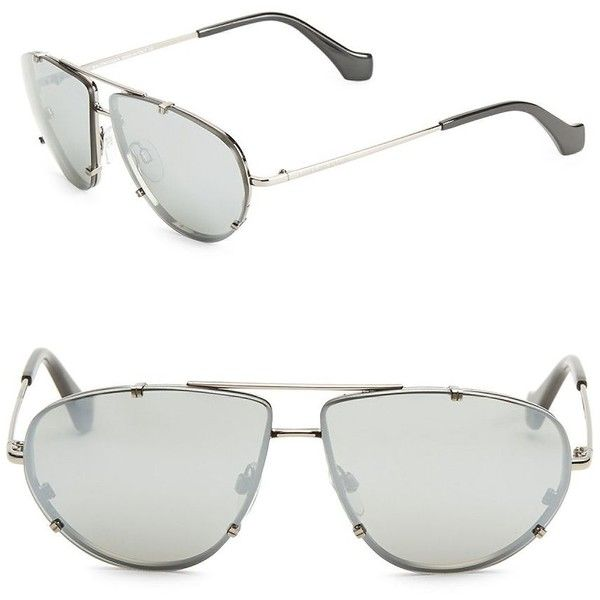 Balenciaga 62MM Mirrored Aviator Sunglasses (1.400 BRL) ❤ liked on Polyvore featuring accessories, eyewear, sunglasses, mirrored sunglasses, mirror lens sunglasses, mirror lens aviators, mirrored aviators and metal sunglasses