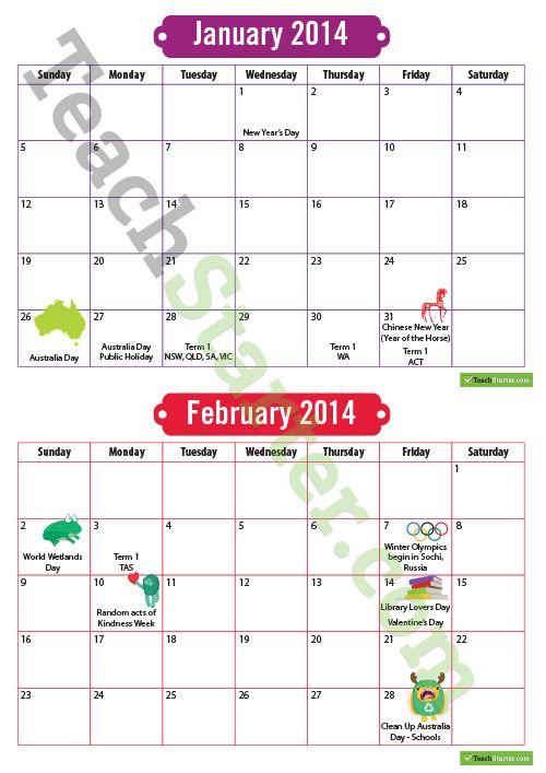 2014 Australian Calendar with Important Dates | Teaching Resources - Teach Starter